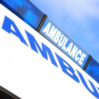 Closeup of sign on ambulance